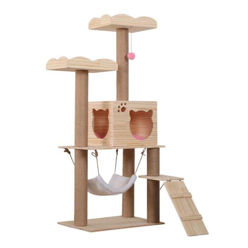 寵喵樂 原木紋多層大型貓跳台 (花托款)
