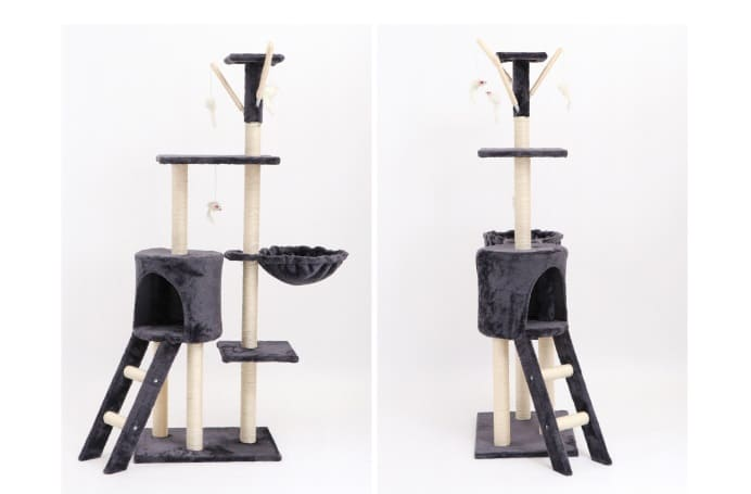 IDEA 灰絨質感四層粗麻繩柱貓跳台/爬架