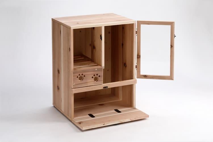 實木日式風貓砂櫃