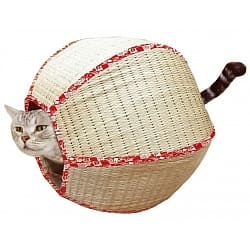 CattyMan貓用天然草編圓球睡窩
